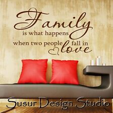 Family is what happens when two people fall in love-Wall Quote Sticker-Art Decor