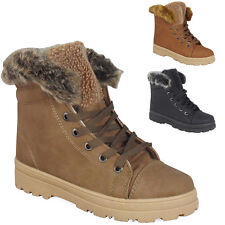 LADIES ANKLE BOOTS GIRLS WOMENS HI HIGH TOP TRAINERS FUR WINTER FLAT SHOES SIZE