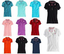 NWT Aeropostale Women's Classic A87 Solid Polo T-Shirt/Tee Top in 6 Color S/M/L