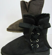 COCO Ladies Faux Fur Lined Ankle Boot L8580 Black or Brown UK 3 X 8  (R22F)
