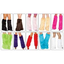 Furry Leg Warmers Costume Accessory Adult Womens Fluffies Fur Boot Cuff Toppers