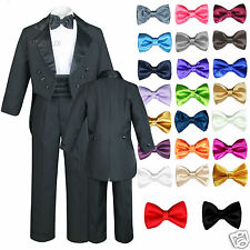6pc Satin Bow Tie Baby Toddler Boy Formal Black Tail Tuxedo Suit S M L XL 2T-20