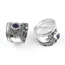 925 Bali Design Sterling Silver Wide Band Cigar Ring Amethyst Faceted RG12004-AF