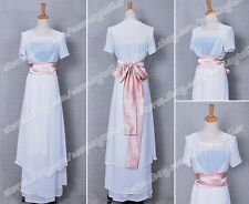 Titanic Rose White Party Dress Costume Chiffon Gown Suit High Quality Halloween