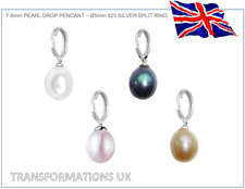 Pearl Charm Pendant - Genuine Freshwater - 925 Sterling Silver - Colour Options