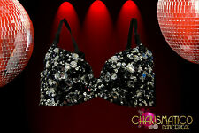 CHARISMATICO Black and silver sequin Showgirl Diva Bra with Crystal accents