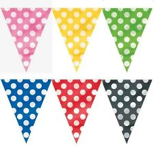POLKA DOTS FLAG BANNER-12 FEET, PLASTIC PENNANT  BUNTING  FOR ALL OCCASIONS