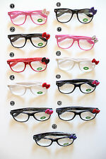 Hello Kitty Bow Bowknot Glasses Frame w/Opti Clear Lens Spring Temple Frame Lens