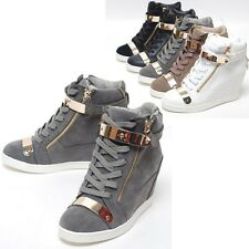Epic7snob Womens Shoes High Top Gold Velcro Wedge Hidden Heel Fashion Sneakers
