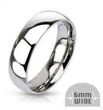 6mm Calssic Half Round Mens Wedding Ring Band Stainless Steel Shiny Sizes 7-13