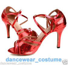 New Adult Women's Ballroom Latin Dance Salsa Shoes 8.5cm Heeled Shoes US 5-8 Red