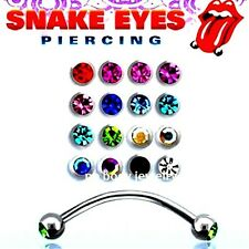"1pc. 16G~9/16"", 5/8""  Steel Double Gems Curved Barbell for ""Snake-Eyes"" Piercing"