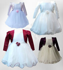 Baby Girls Wedding Dresses with Bolero Christening Flower Girl Dress