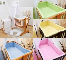 7 Piece Crib Baby Bedding Set 90x40 Canopy Fits Rocking/ Swinging Cradle - Plain
