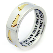 Footprints In The Sand Ring Gold Footprints Prayer Recovery & Religious Jewelry