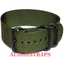 PREMIUM ZULU PVD 3 Ring KHAKI 20mm,22mm,24mm Military Diver's watch strap band