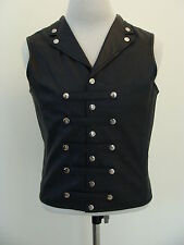 Mens REAL Leather Waistcoat Vest Victorian Corset Steel Boned GOTH Military