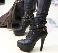 Women Faux Leather Lace Up Buckle Ankle Boots Platform studded High Heel Shoes