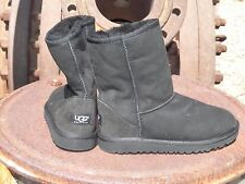 New Big Kids UGG Classic Black Sheepskin Suede Short Winter Boots