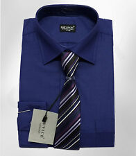 MEN'S & BOYS NAVY BLUE FORMAL SHIRT AND TIE SET WEDDING PROM SUIT SHIRTS