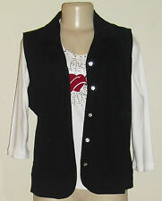 BLACK Vest with rhinestone buttons + Decorated T-shirt set  XS-S-M-L-XL-1X-2X-3X