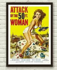 Vintage Attack Of The 50ft Woman Movie Film Poster Print Picture A3 A4