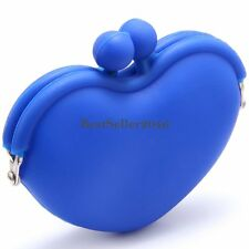Lovely Silicone Peach Heart Shape Coin Purse Wallet Bag Candy Multi-Color