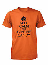 Men's Keep Calm and Give Me Candy Halloween Funny T-Shirt Costume Pumpkin Tee