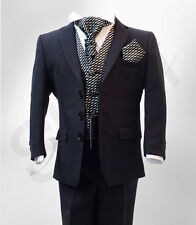 BOYS NAVY & BLACK FORMAL WEDDING SUIT PAGEBOY PROM CRAVAT SUIT AGE 1 TO 15 YRS