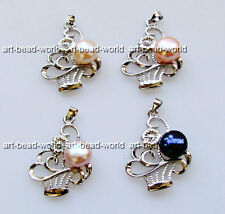 variations color10-11mm freshwater pearl corbeil shape white gold plated pendant