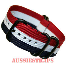 PREMIUM ZULU PVD 5 Ring RED WHITE BLUE 20-24mm Military Diver's watch strap band