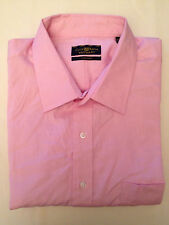 NEW Men's Club Room Regular Fit Easy Care Pinpoint Dress Shirt Pink 18 34/35