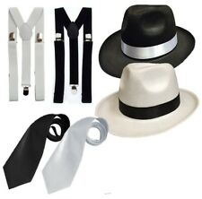 ADULT GANGSTER DELUXE TRILBY HAT BRACES TIE 1920'S GATSBY BUGSY MALONE AL CAPONE
