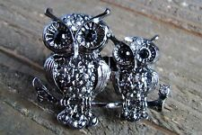 Rhinestone Owls Adjustable Double Two 2 Finger Statement Fashion Ring Jewelry