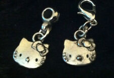 Tibetan Silver Hello Kitty Face Charm Clip on clasp or bail for snake bracelets
