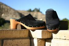 New Womens UGG ABBIE Black Suede Clog Wooden Heel Shoes All Sizes