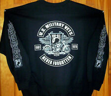 VIETNAM VETS Tribute Long Sleeve T Shirt Black Sz Sm - 5XL POW Motorcycle