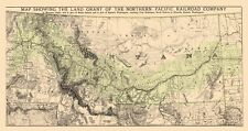 Old Railroad Map - Montana Northern Pacific RR Land Grant - 1890 - 23 x 44