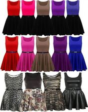 New Womens Plus Size Colour Block Printed Belted Flared Skater Skirt Dress