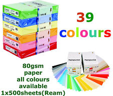 A4 Coloured Paper Reams, 80gsm Paper & 160gsm Card (40 Colours to Choose From)