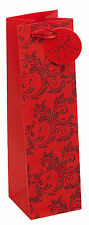 Christmas Gift Bags - Red Glitter - Matching gift tag -  Small/Medium/large/Bott