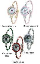 Breast Cancer Awareness and Christmas Wire Bangle Cuff  Fashion Watch