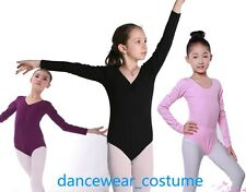 New Kids Long Sleeve Leotard Girls Cotton Ballet Dance Gymnastics Leotards SZ3-8