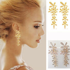 Fashion Full Rhinestone Long Snowflake Flower Dangle Earrings Stud Gold Silver