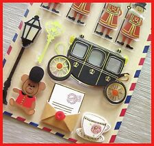 very cute memory of london UK british bus soldier bear big ben 3D sticker pic 1