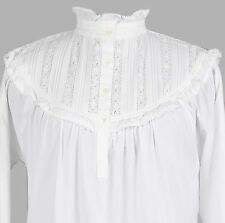 White Cotton Victorian Edwardian Florence Nightingale Plus size Nightdress G98