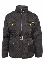 Womens Quilted Jacket Plus Size Padded Down Belted (BLJK-SM1318) New
