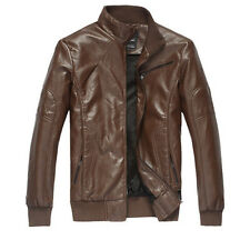 New Mens Faux Leather Parka Coat Suede Padded Racer Blazer Overcoat Outwear