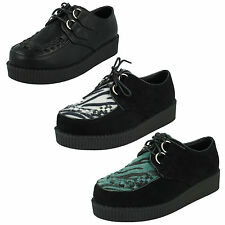 *SALE* LADIES SPOT ON SUEDE CASUAL LACE UP PLATFORM WEDGE  CREEPERS  F9588