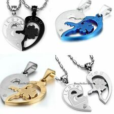 His and Hers Stainless Steel I Love You Matching Heart Pendant Couple Necklaces